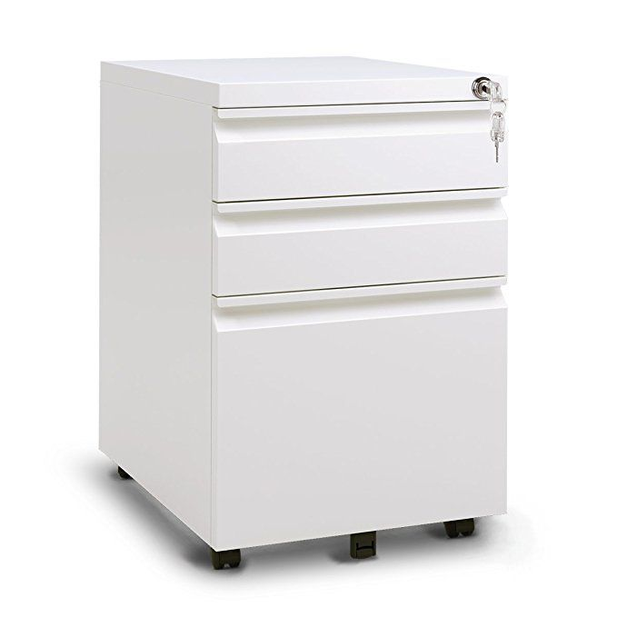Devaise 3 Drawer Metal File Cabinet With Lock In White Black 15 4 Quot W X 19 7 Quot D X 23 6 Quot H Filing Cabinet Metal Filing Cabinet Mobile File Cabinet