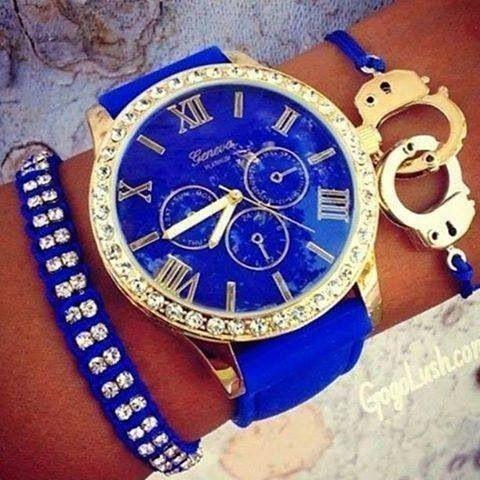 Beautiful Blue  the handcuffs! Geneva Watch.