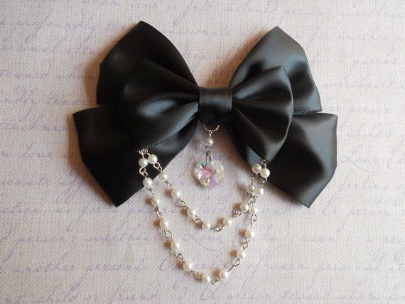 Gothic Lolita Hair clip or Brooch black bow with by LittleBanshees, $10.00