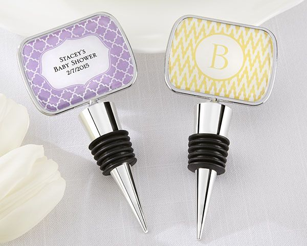 Personalised Bottle Stopper with Epoxy Dome - Baby Shower
