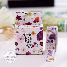 10 Metre Taze Mor Çiçekler Kağıt Washi Bant Yapışkan Bant DIY Scrapbooking Sticker Etiket Maskeleme bandı Craft(China (Mainland))