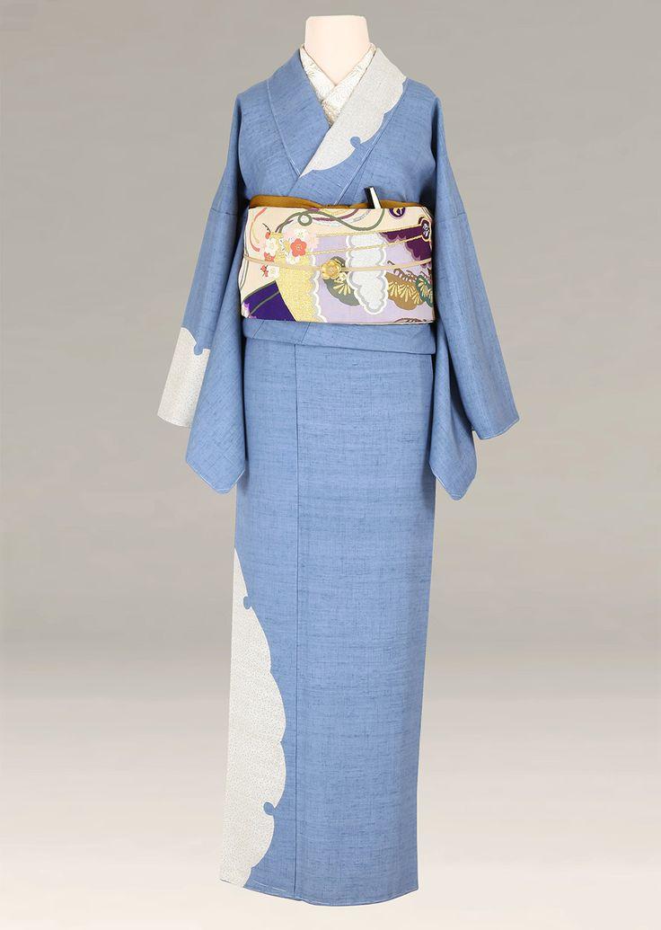 着物レンタル アンティークから現代物まで|衣裳らくや|きものレンタル | 訪問着 紬 ブルーグレー地/雪輪柄