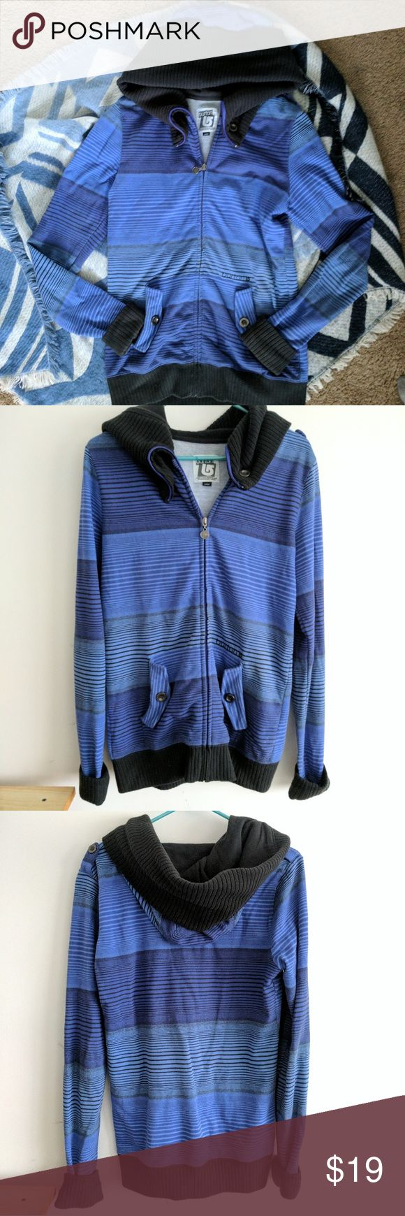 Women's Burton zip up sweatshirt Blue purple stripped full zip up hoodies sweatshirt. Size large but fits like a comfortable medium. Burton Sweaters
