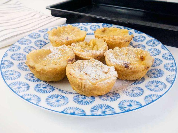 Vegan Pastéis de nata (Portuguese custard tarts) recipe. Dairy-free, egg-free vegan and vegetarian dessert