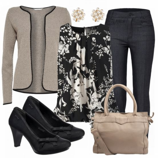 #bluse #beige #cardigan #strick #strickmode #hose