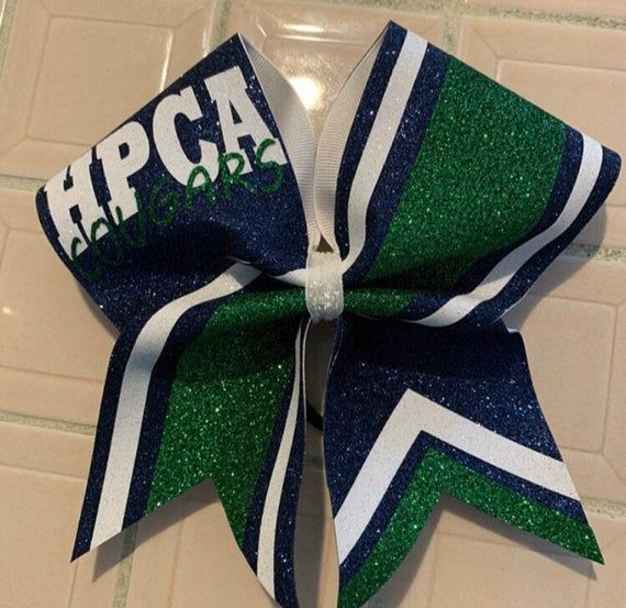 Navy Blue Kelly Green And White All Glitter Custom Cheer Bow Made In Your Team Colors In 2020 Custom Cheer Bows Glitter Cheer Bow Blue Cheer