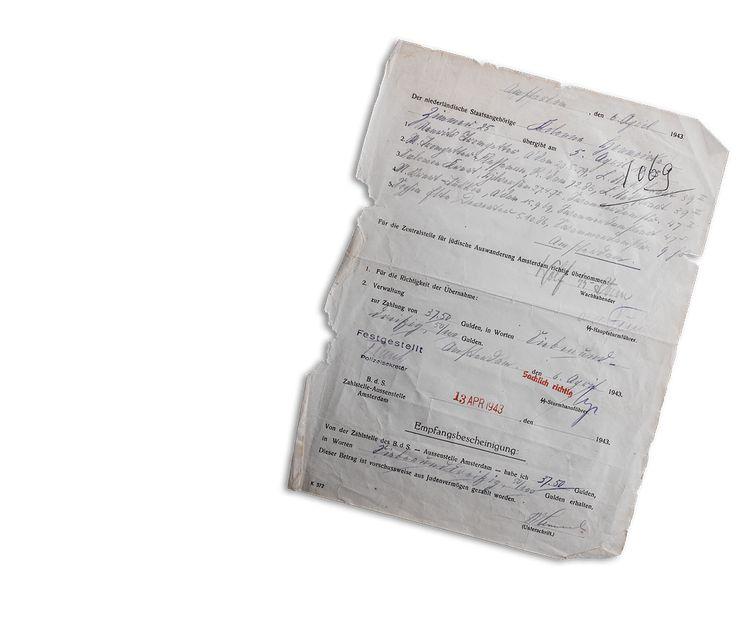 Kwitantie als bewijs dat leden van de Colonne Henneicke een premie krijgen voor het arresteren van joden.