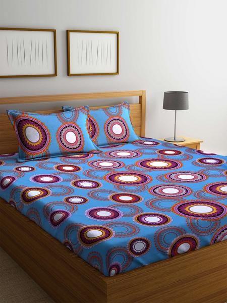 Buy Cotton Blue 120 TC Double Bedsheet with 2 Pillow Covers Online #cottonbedsheets #doublesizeddbedsheets #homefurnishing #bedsheets #homelinen #homedecor #quality #cottonbedsheets #pillowcovers #mafatlal