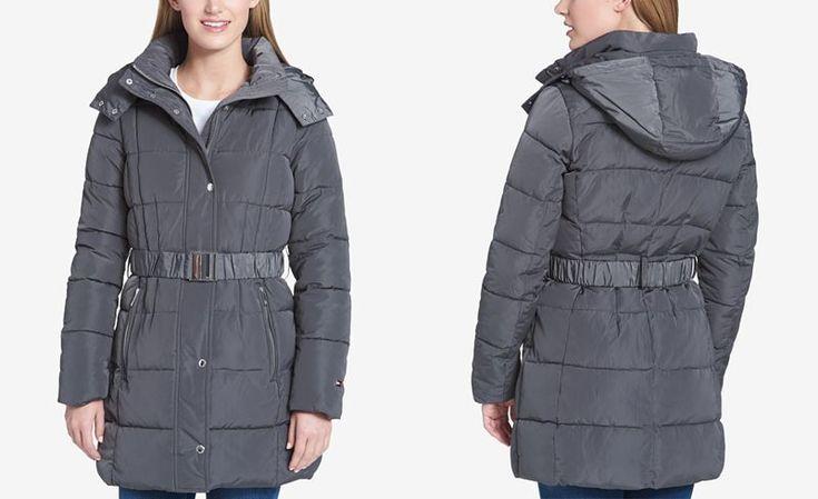 Tommy Hilfiger Belted Hooded Puffer Coat - Coats - Women - Macy's