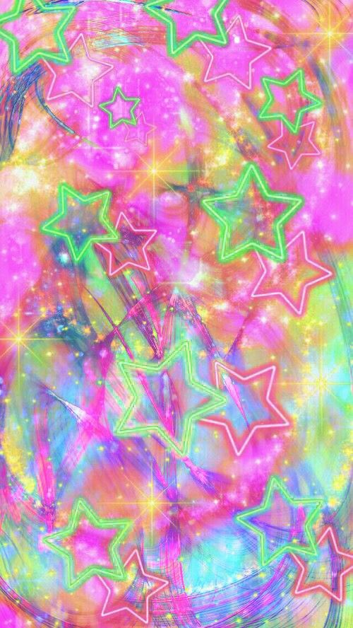 Colorful Neon Stats Made By Me Pink Galaxy Wallpapers Backgrounds Glitter Sparkles Neon Stars
