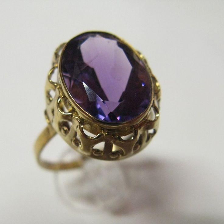 Vintage German Gold & Amethyst Ring
