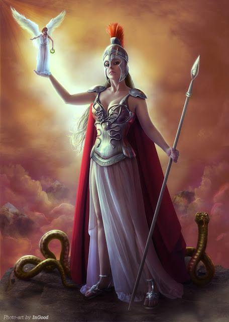 10º Atena: Deusa da guerra, da civilização, da estratégia, da sabedoria e da habilidade. Filha de Zeus e Métis, a titã da sabedoria. Teve um nascimento singular. Nasceu da cabeça de Zeus e preparad…