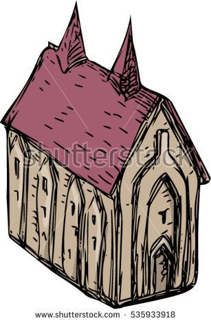 Drawing sketch style illustration of a medieval church viewed from high angle set on isolated white background.  #church #sketch #illustration