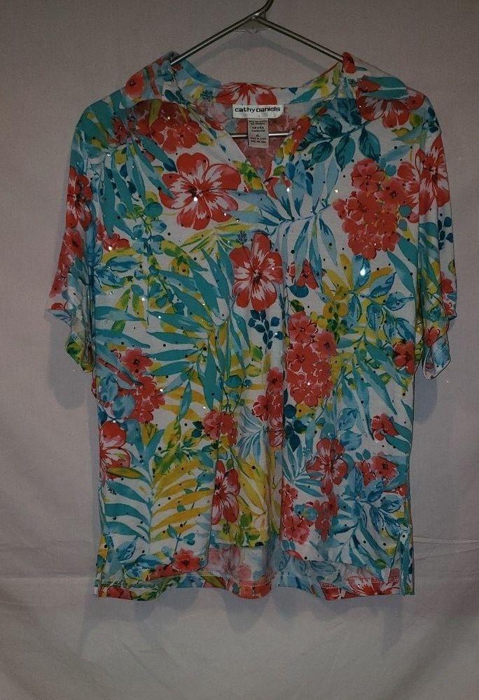 439a479729a20b CATHY DANIELS WOMENS XL SHIRT TOP FLORAL FLOWERS HAWAII HAWAIIAN SEQUINS  #fashion #clothing #shoes #accessories #womensclothing #tops (ebay link)