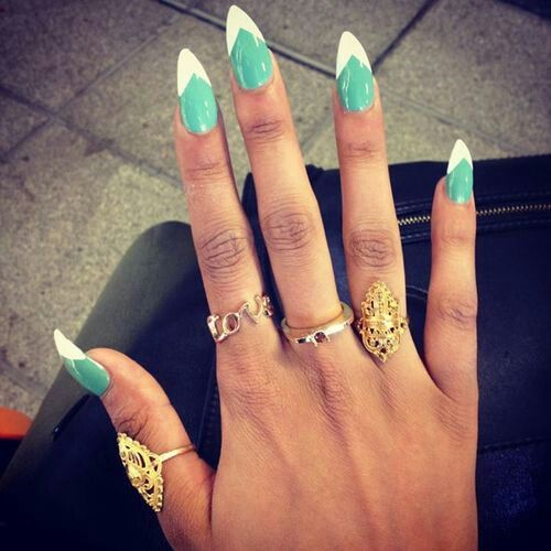 Green and white long pointed nails