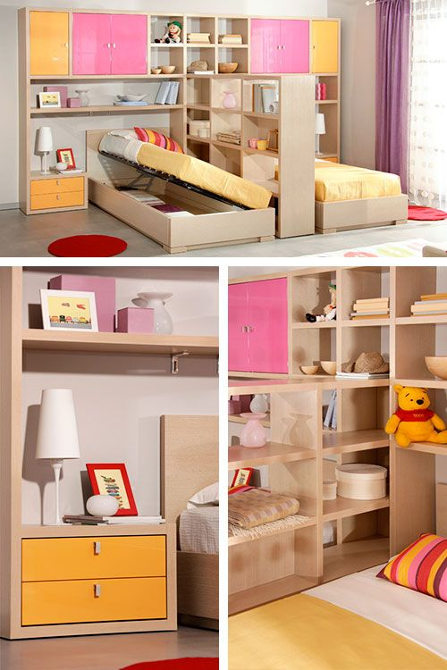 Две кровати со спальным местом 90 × 190 см в детской комнате. Представленный комплект кажется массивным, но занимает он всего 8 квадратных метров с учётом места сбоку от кроватей. Длина стенки 4 метра, высота 212 сантиметров, габаритная длина кровати 2 метра.