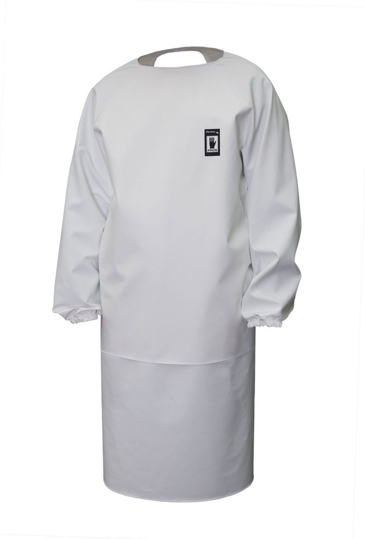WATERPROOF APRON WITH SLEEVES Model: 121 This is a front apron attached at neck, with sleeves and with an additionnal front reinforcement.  The model is made of waterproof fabric called Plavitex that is resistant against fats, enzymes, against digestive juices and disinfectants. The apron conforms to EN ISO 13688 and EN 343 standards.