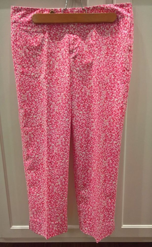 LILLY PULITZER Palm Beach Fit Cropped Pants Sz6 Pink / White pattern  #LillyPulitzer #CaprisCropped