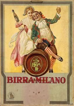 Birra Milano Leopoldo Metlicovitz - Litografia su cartone - 1930 ...