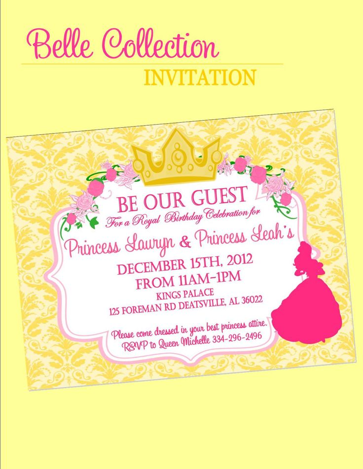 107 best images about Invitations – Disney Princess Tea Party Invitations