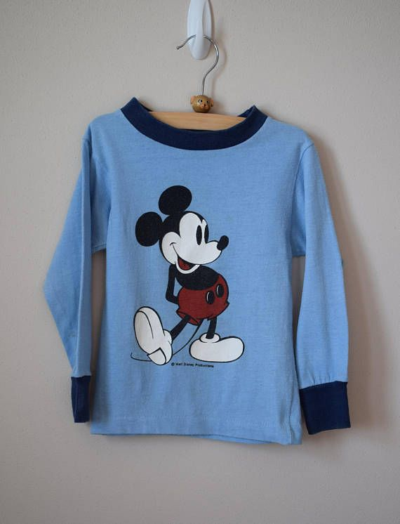 8ae03c21c Vintage 1980s long sleeve Mickey Mouse ringer tee for toddler. Label is  Alison. 50% cotton / 50% polyester SIZE >>> Tag size 4. Best fit estimate  3-4.