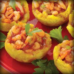 Tostones Rellenos....Cute little cups of goodness.  I'd prefer mine filled with picadillo or pork.