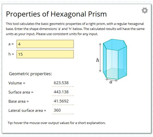 Calculate the geometric properties of a prism with base a regular hexagon.