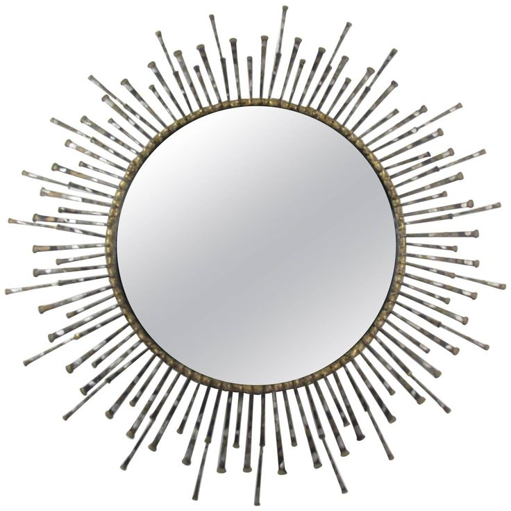 Mid-Century Brutalist Style Masonry Nail Mirror in the Style of William Bowie | 1stdibs.com