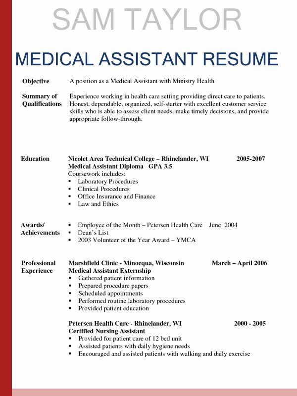 Medical Assistant Resume Template Elegant How To Write A Medical Assistant Resume In 2016 Medical Assistant Resume Medical Resume Medical Resume Template