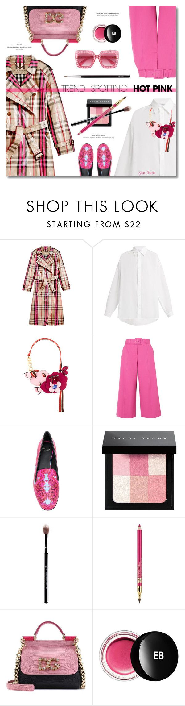 """NYFW Trend Spotting: Hot Pink ... 2018"" by greta-martin on Polyvore featuring Burberry, Raey, Marni, Oscar de la Renta, Versace, Bobbi Brown Cosmetics, Estée Lauder, Dolce&Gabbana, Edward Bess and Gucci"