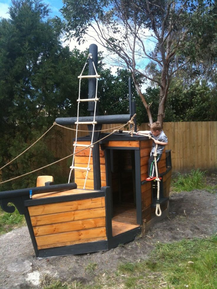 Free pirate ship playground plans woodworking projects for Boat playhouse plans