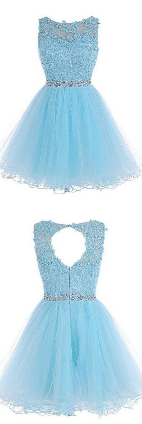 A-line/Princess Homecoming Dresses, Light Sky Blue Homecoming Dresses, Short Homecoming Dresses, Short Light Sky Blue Homecoming Dresses With Rhinestone Mini Round Sale Online, Light Blue dresses, Dresses On Sale, Blue Homecoming Dresses, Sky Blue dresses, Light Blue Short dresses, Short Blue Dresses, Homecoming Dresses Short, Light Blue Homecoming Dresses, Blue Short Dresses