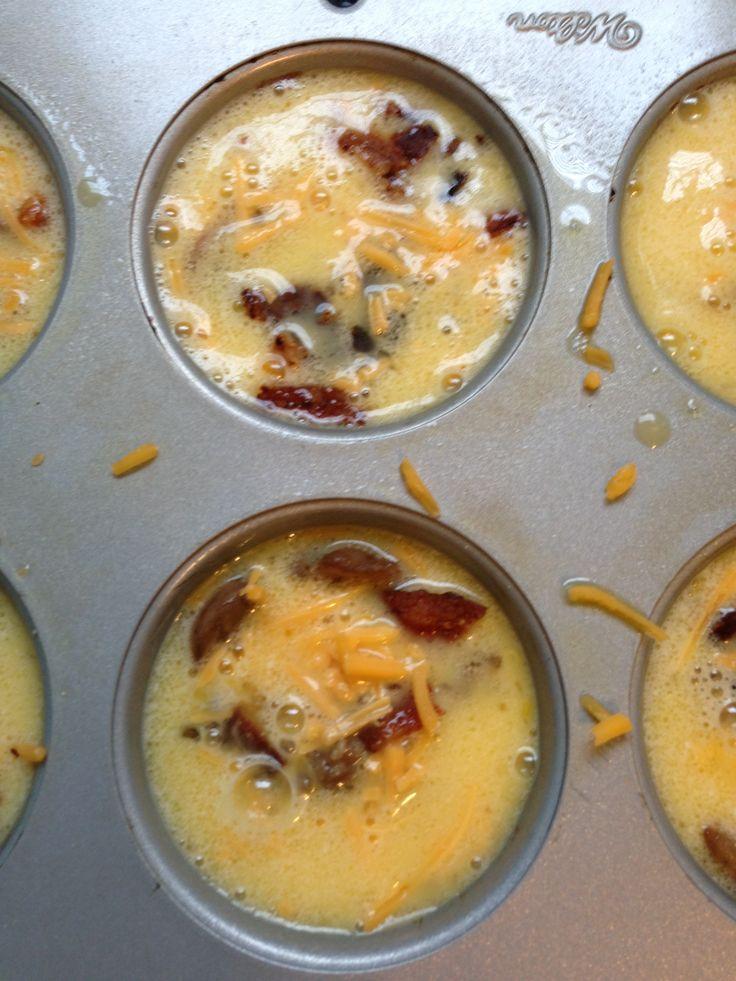 egg bake cupcakes egg bake casserole but baked in muffin tin.  breakfast for dinner.  freezer friendly.