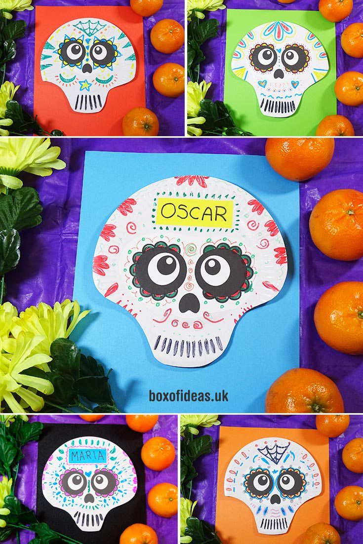 Day of the Dead Skulls! (Easy Halloween Alternative Craft for Kids Using Paper Plates)