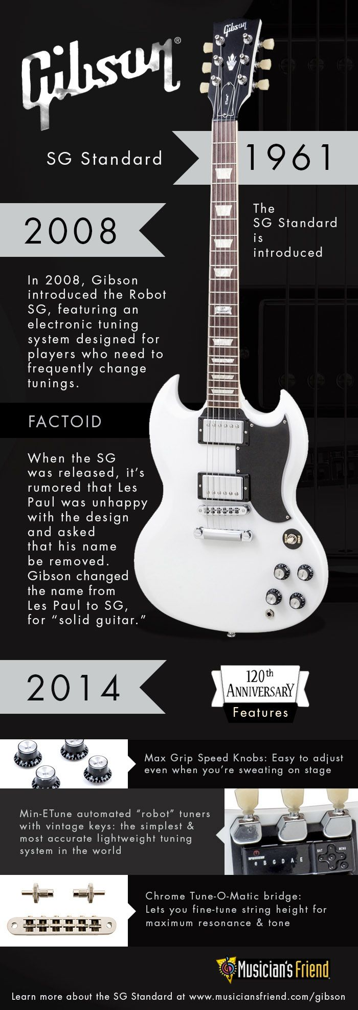 Love the Gibson SG Standard? So do we. Check out this infographic, highlighting its evolution starting from 1961. #Gibson120