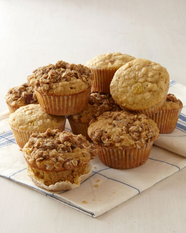 Apple-Oatmeal Muffins | Martha Stewart Living - Macintosh apples and a double dose of oats add a boost of nutrition to these crowd-pleasing muffins.