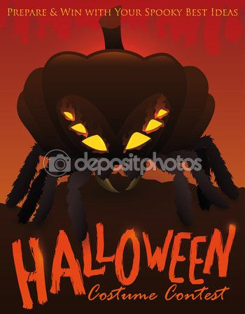 Halloween Costume Contest with Spider Disguised with a Pumpkin