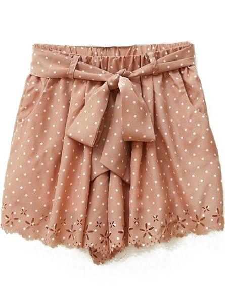 Pink Polka Dot Print Cut Out Hem Chiffon Shorts US$20.48
