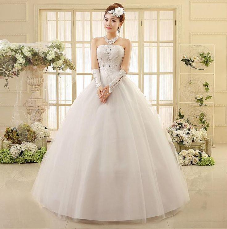 Pure Design Strapless Princess Wedding Dresses Beading Applique Laceup Wedding Dress HS550 Without Gloves, Accessories Princess Wedding Dress Sexy Wedding ...