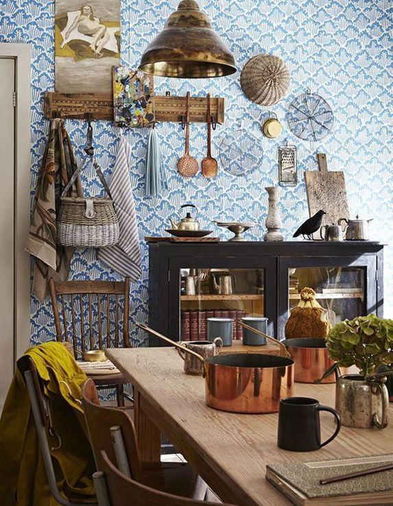 Blue Bohemian Interior Design Dining Area