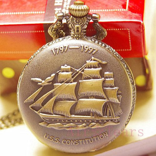 Victorian 1797-1997 Carve Sailboat Pocket Watch Necklace Chain N060