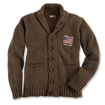 Barbour Steve McQueen Shawl Cardigan, on sale at Orvis for $191.40. Available in brown or maroon.