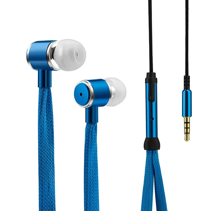 Fashion Shoelaces Earphone Stereo Metal Bass Headphones Headset Music Earpieces with Microphone for iPhone Xiaomi Samsung Sport