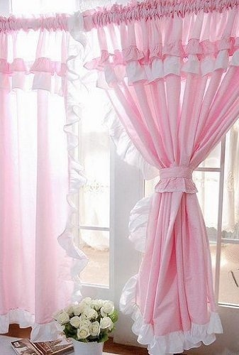 Vintage Pink Curtains   Shabby and Vintage Style Pink Gingham Ruffle Curtain Drape 2pc Set by ...