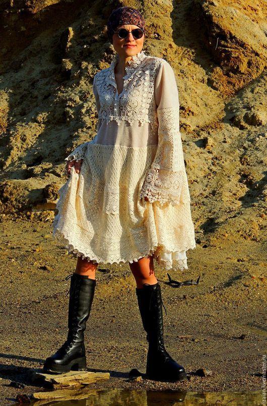 Платья ручной работы. Ярмарка Мастеров - ручная работа. Купить Платье в стиле БОХО. Лен и хлопок (№9). Handmade.