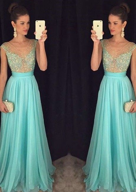 V-neck Blue A-line Crystals Sleeveless Floor Length Chiffon Ruched Homecoming / Prom Dresses