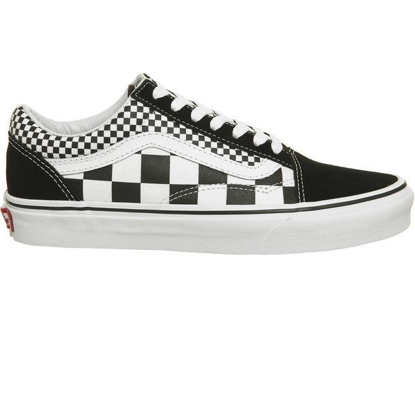 vans old skool trainers black white mix check