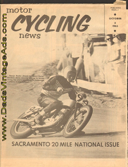 1963 Motor Cycling News – Sacramento 20-Mile National Issue - George Roeder wins