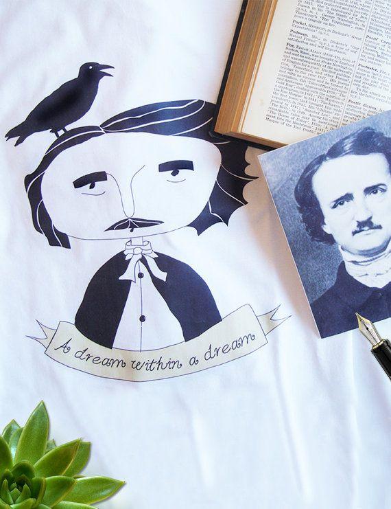 Edgar Allan Poe Portrait Organic tshirt | Quote | MENs size (M) (L) (XL) | color WHITE #tshirts #organictshirts #fairtrade #organiccotton #etsy #EtsyGifts #etsygreekstreetteam #ethicalfashion #poe #edgarallanpoe #crow #poepoems