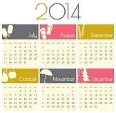kalender : Minimalistisches Design für einen 2014 Kalender (Juli bis Dezember). Illustration